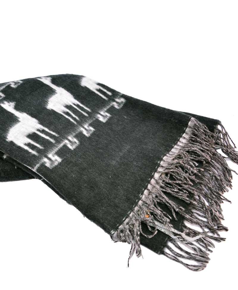 couverture de laine d 39 alpaga charbon et gris boutique art inca. Black Bedroom Furniture Sets. Home Design Ideas