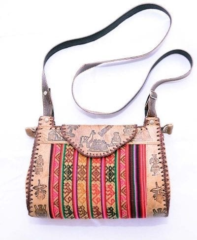 peruvian leather handbag - red