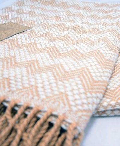 couverture 100% alpaga brun motifs inca