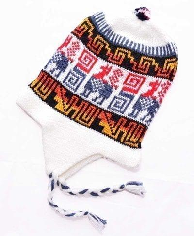 Tuque Pérou blanc et rouge
