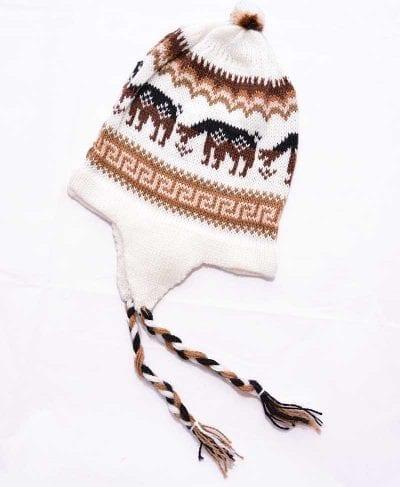 Tuque Pérou blanc et brun