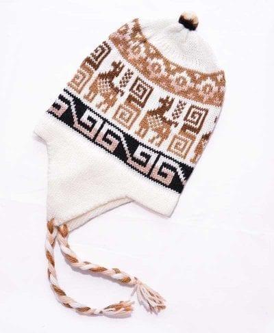 Tuque Pérou blanc brun